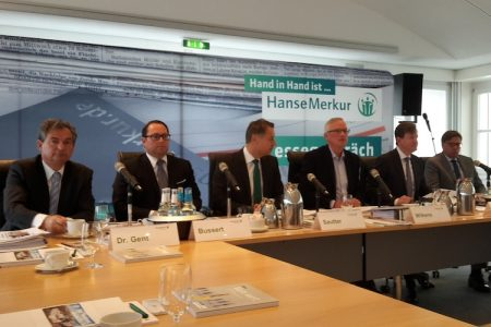 Der HanseMerkur-Vorstand präsentiert die Bilanzergebnisse 2017, Foto: Cash.
