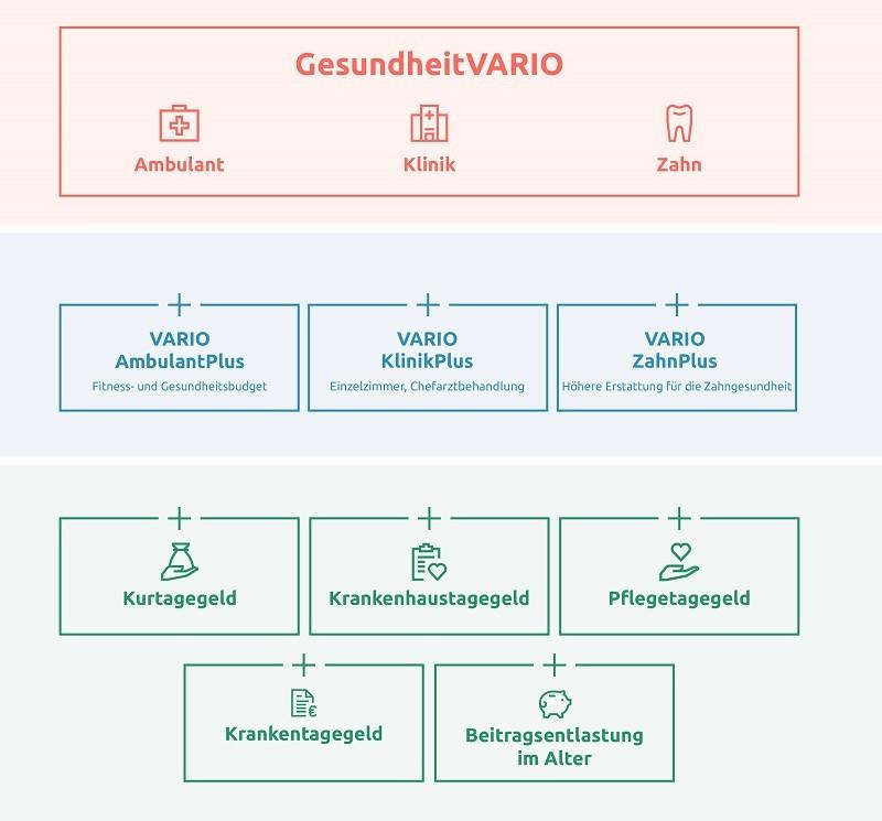 Schaubild modulare Bausteine von GesundheitVARIO