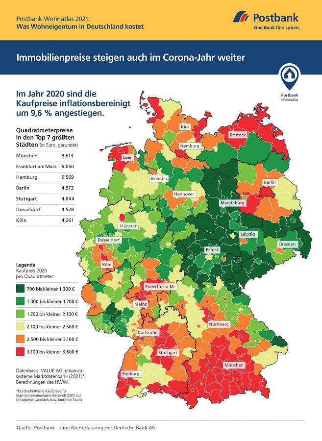 210309 Postbank Wohnatlas 2021 Preisatlas Infografik