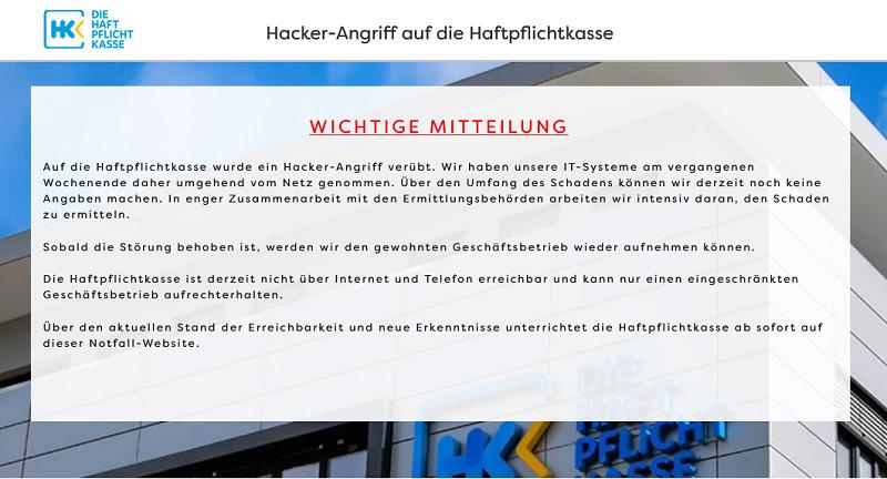 haftpflichtkasse hackerangriff