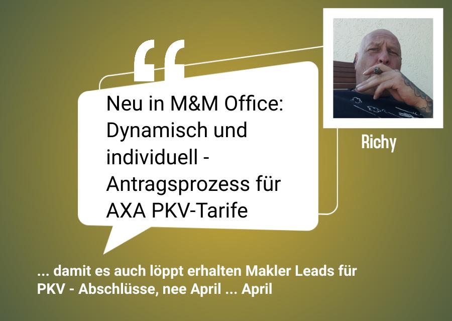 Neu in MM Office Dynamisch und individuell Antragsprozess fuer AXA PKV Tarife
